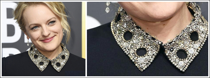 Elisabeth Moss wore elegant and classic diamond earrings set in platinum