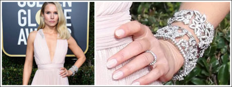 Kristen Bell wore a gorgeous pink gown along with a striking diamond bracelet