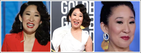Sandra Oh made a statement with her white gown and striking diamond earrings