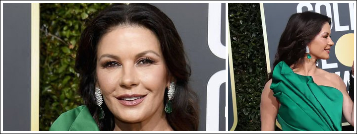 Catherine Zeta-Jones looked absolutely stunning in a one-shoulder emerald green wrap dress with a jaw-dropping emerald ring and matching diamond earrings