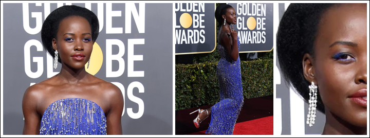 Lupita Nyong'o wore sparkling diamond earrings and striking blue eyeshadow