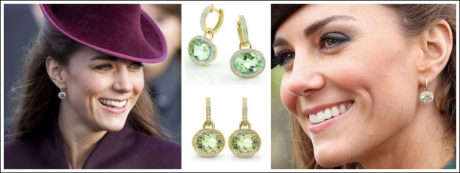 Prince Harry gifted Kate with a beautiful pair of oval green amethyst earrings surrounded by diamonds