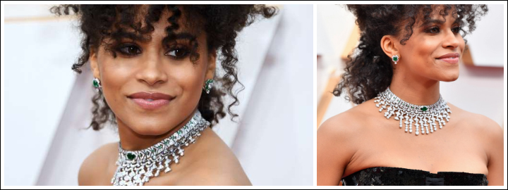 Zazie Beetz stepped out wearing not one, but two diamond necklaces at the Oscars
